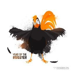 Creative illustration of a rooster on white background for Chinese New Year or Year of the Rooster celebration concept.