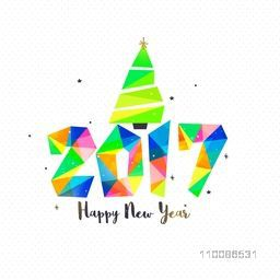 Colorful low poly style text 2017 with Christmas Tree on white background. Elegant greeting card design for Happy New Year celebration.