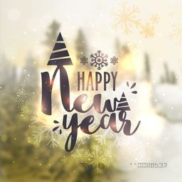 Happy New Year celebration greeting card design. Beautiful blurred nature background. Creative vector illustration.