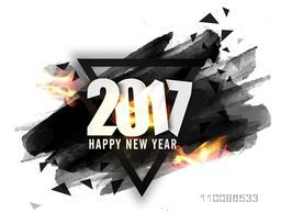 Creative abstract background with white text 2017 in fire on watercolor brush stroke. Vector illustration for Happy New Year celebration.