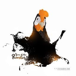Abstract illustration of a rooster on white background for Chinese New Year or Year of the Rooster celebration.