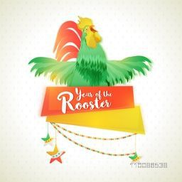 Greeting Card design with illustration of a rooster on shiny background for Chinese New Year celebration concept.