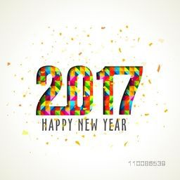 Greeting Card design with creative colorful text 2017 for Happy New Year celebration.