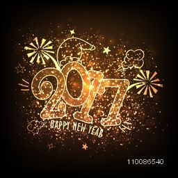 Beautiful glowing background with stylish text 2017 for Happy New Year celebration.