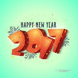 Elegant greeting card design with glossy 3D text 2017 on shiny background for Happy New Year celebration.