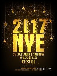 Golden Text 2017 NYE (New Year Eve) on hanging stars decorated background, Creative glowing template, banner, flyer or invitation card design for party celebration.
