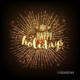 Happy Holidays celebration glowing background with starburst, Can be used as poster, banner or flyer design.