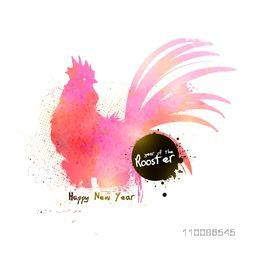 Chinese New Year celebration concept with abstract illustration of a rooster on white background.