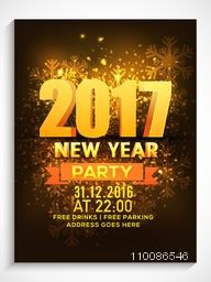 3D text 2017 on shiny snowflakes background, Creative template, banner, flyer or invitation card design for New Year Party celebration.