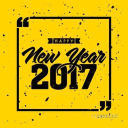 Stylish text New Year 2017 on yellow background, Can be used as poster, banner or flyer design.