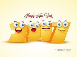 Creative 3D text 2017 with funny faces on shiny background for Happy New Year celebration.