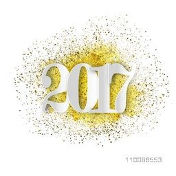 Stylish white text 2017 on gold glitter background for Happy New Year celebration.
