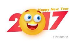 Creative text 2017 with smiling face on white background for Happy New Year celebration.