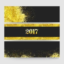 Website header or banner set with golden sparkles, Creative vector illustration for New Year 2017 celebration.