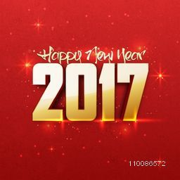 Creative 3D text 2017 on red background. Elegant greeting card design for Happy New Year celebration.