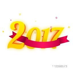 3D text 2017 with glossy blank ribbon on white background for Happy New Year celebration.
