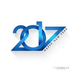 Glossy blue text 2017, Creative vector illustration for Happy New Year celebration.