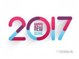Creative colorful text design 2017 on white background. Vector illustration for Happy New Year celebration.