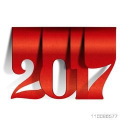 Creative paper text 2017 on white background. Vector illustration for Happy New Year celebration.
