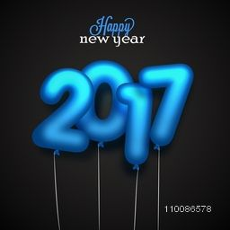 Glossy blue 2017 balloons for Happy New Year celebration. Creative vector illustration.