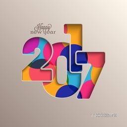 Creative colorful text 2017 for Happy New Year celebration. Elegant greeting card design.