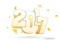 3D text design 2017 on white background. Creative vector illustration for Happy New Year celebration.