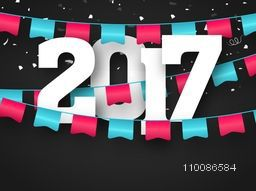 Creative holiday background with big white text 2017 and glossy buntings decoration for Happy New Year celebration.