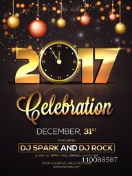 Golden text 2017 with clock on hanging xmas balls decorated background. Creative glowing template, banner, flyer or invitation design for Happy New Year celebration.