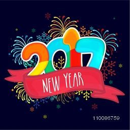 Colorful text 2017 on sparkle decorated  background, Elegant greeting card design for Happy New Year celebration.