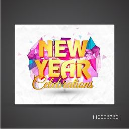 3D text  New Year on creative abstract background. Elegant greeting card design. Vector illustration.