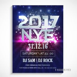 Silver Text 2017 NYE (New Year Eve) on hanging stars decorated background, Creative glowing template, banner, flyer or invitation card design for party celebration.