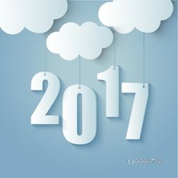 Creative 3D Text 2017 hanging from clouds for Happy New Year celebration.