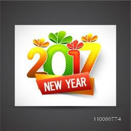 Colorful text 2017 on white background, Greeting Card design for Happy New Year celebration.
