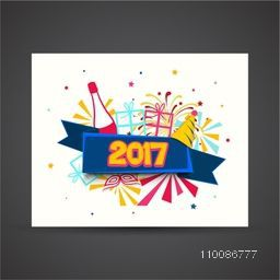 Stylish text 2017 on colorful background, Elegant greeting card design for Happy New Year celebration.