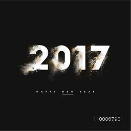 Creative glowing text 2017 on black background, Elegant greeting card design for Happy New Year celebration.