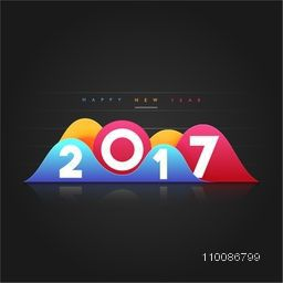 Creative Text 2017 For Happy New Year celebration.