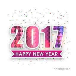 Elegant Greeting Card design with stylish text 2017 For Happy New Year celebration.