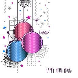 Elegant Greeting Card design with colorful hanging Xmas Balls For Happy New Year celebration.
