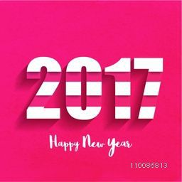 Greeting Card design with White Text 2017 for Happy New Year celebration.
