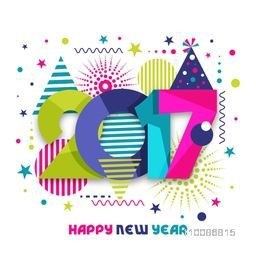 Colorful Paper Text 2017 on abstract background For Happy New Year celebration.