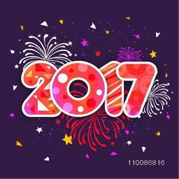 Creative Text 2017 on fireworks background For Happy New Year celebration.