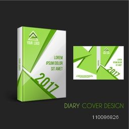 Business Diary Cover presentation with green abstract design for New Year 2017.