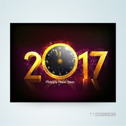 Golden Text 2017 with clock For Happy New Year celebration.