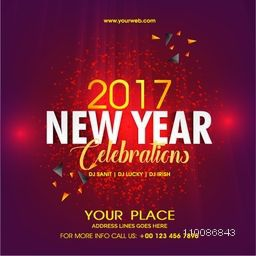 Shiny Invitation Flyer for Happy New Year 2017 Party celebration.