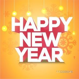 3D Text Happy New Year on yellow background, Can be used as Poster, Banner or Flyer design.