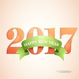 Greeting Card design with Stylish Text 2017 and green ribbon For Happy New Year celebration.