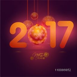 Elegant Greeting Card design with Glossy Text 2017 and hanging ball For Happy New Year celebration.