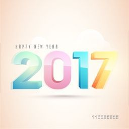 3D colorful text 2017 on shiny background, Elegant greeting card For Happy New Year celebration.