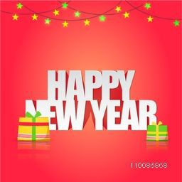 Elegant Greeting Card design with Stylish Text Happy New Year on shiny background.