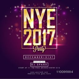 Template, Banner, Flyer or Invitation Card design For Happy New Year 2017 celebration.